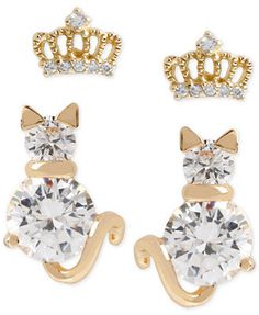 Betsey Johnson Gold-Tone Crystal Crown and Cat Stud Earring Set