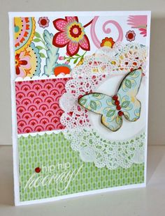Ctmh card with great patterned paper, doily and butterfly