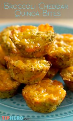 Broccoli Cheddar Quinoa Bites Recipe | Enjoy the creamy flavor of Broccoli Cheddar soup in one protein-packed bite. Easy to whip up and makes for a great appetizer! Check out the short how-to video and get baking!