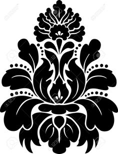 Illustration of Damask pattern Vector vector art, clipart and stock vectors. Damask Stencil, Stencil Patterns, Stencil Painting, Stencil Designs, Fabric Painting, Stenciling, Folk Embroidery, Embroidery Patterns, Motifs Islamiques