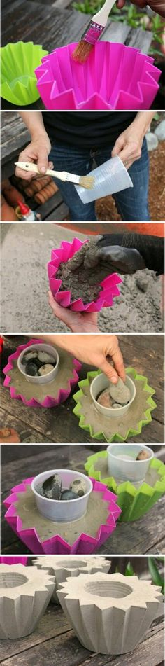 DIY Concrete Planters Fun, easy, and inexpensive hobby ideas. Day of the dead planters. You can find how to make…Concrete Eggssmall concrete planter Diy Concrete Planters, Concrete Crafts, Concrete Art, Concrete Projects, Outdoor Projects, Garden Planters, Cement Garden, Cement Pots, Succulents Garden