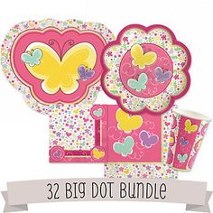 Playful Butterfly and Flowers - Baby Shower 32 Big Dot Bundle | BigDotOfHappiness.com    Adorable tableware that coordinates perfectly. We have bundles available in 16, 32, 48 and 64 quantities for your special event. Adorable Baby Shower Decorations or 1st Birthday Party Supplies! #Babyshowertableware
