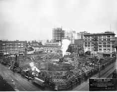 Pittock Block Excavation, 1913 This massive excavation was a three-story sub-basement for the Pittock Block, which originally housed the Northwestern Electric Company's electric sub-station and west side distribution plant. Portland newspaper publisher Henry Pittock's home was on this site before construction began. This view looks down on the corner of SW 10th and Washington, facing northeast.