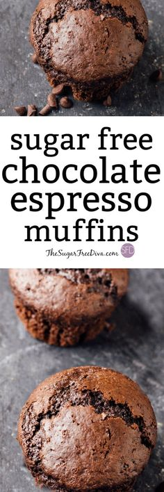 Yummy and Easy Sugar Free Chocolate Espresso Muffins - Impress someone special when you make them these Sugar Free Chocolate Espresso Muffins Eating one o - Sugar Free Deserts, Sugar Free Treats, Sugar Free Cookies, Sugar Free Recipes, Diabetic Desserts, Köstliche Desserts, Low Carb Desserts, Diabetic Recipes, Dessert Recipes
