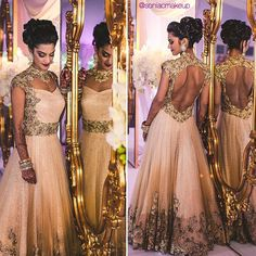 Indian bride, bridal hair, Indian gown, bridal makeup, reception makeup, gold gown
