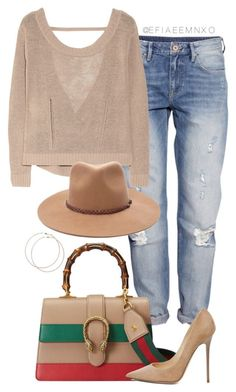 """""""Outlaw"""" by efiaeemnxo ❤ liked on Polyvore featuring H&M, Inhabit, Forever 21, Gucci, Jimmy Choo and Wet Seal"""