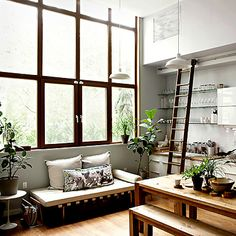 factory windows // wood // light - a great use of space