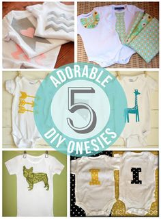 5 DIY Onesies {Baby Gifts} @Kassi Dallavis Smith we could make these!!!