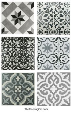 Farmhouse black and white stenciled tiles for a vintage farmhouse style look. Farmhouse black and white stenciled tiles for a vintage farmhouse style look. Shabby Chic Interiors, Shabby Chic Homes, Shabby Chic Decor, Vintage Home Decor, Vintage Ideas, Vintage Farmhouse, Farmhouse Style Kitchen, Farmhouse Decor, Modern Farmhouse