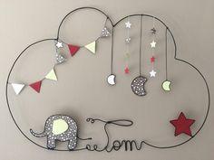 Réalisation d'un prénom en fil d'aluminium avec lune, éléphant, étoile et fanions très originale pour décorer la chambre de votre enfant dimensions : largeur 51 X hauteur  - 16196388
