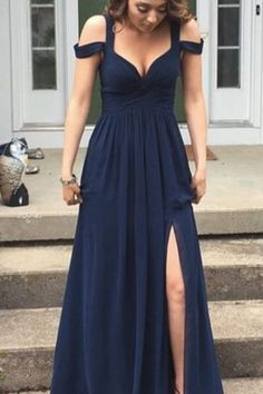 Bridesmaid Dresses,Off the Shoulder Navy Blue Chiffon Prom Dresses , Celebrity Dresses Party Gowns