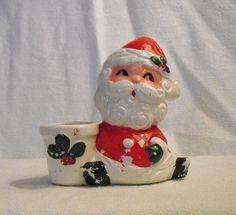 Vintage 1950's Park Lane Santa Candle holder Made by JUNKMANSGAL
