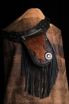 Brindle Hair Holster Bag - Holster bag with Brindle hair on calf inlay work with fringe(or without fringe), whip stitch, silver Concho, and extra zip pocket. Isn't this beautiful?   Designer: Gus Lewkowicz is a great designer and the quality is awesome!