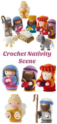 Adorable crochet Nativity scene with all the characters from the Christmas story. Love this set!