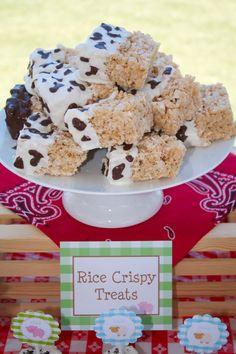 Cute Barn dessert idea -Cow print crispy treats