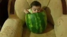 UVIOO.com - Baby Eating Watermelon   Cute Baby Eats A Melon   
