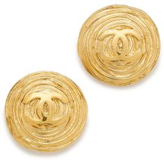What Goes Around Comes Around Chanel Twisted Nest CC Earrings... ($1,000) ❤ liked on Polyvore featuring jewelry, earrings, gold earrings, yellow gold jewelry, gold twist earrings, gold jewelry and gold jewellery