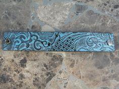 Recycled Bracelet Repurposed Belt Blue & Black by ARTifactsBYJANIE, $22.99