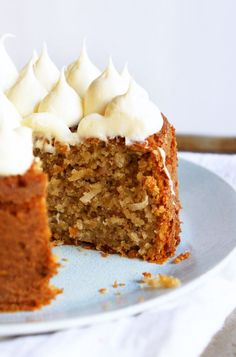 "Banana Cake with Coconut and Creamy Honey Frosting ~ via this blog, ""Sugary and Buttery""."