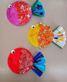 Artesanato com pratos de papel - 51 idéias incomuns de artesanato para crianças - Basteln mit Kindern: Schnell und einfach - Daycare Crafts, Classroom Crafts, Toddler Crafts, Preschool Crafts, Crafts For Kids, Arts And Crafts, Preschool Christmas, Christmas Crafts, Thanksgiving Crafts