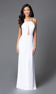 e28891fecc9 Image of long white high-neck sheer-keyhole dress Style  LF-AV