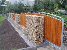 Resultado de imagen de gabion and wood fence