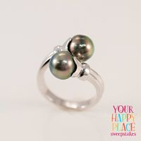 If your happy place is with the trendiest fashionistas rockin' these gorgeous bypass rings, then welcome! || 9.5-10mm Cultured Tahitian Pearl Rhodium Over Sterling Silver Bypass Ring