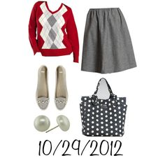 """""""Red & Gray: Monday, October 29, 2012"""" by josiegirl77 on Polyvore"""