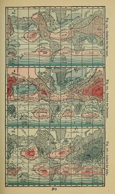 Figs. 274-276. World isobar maps. Lessons in physical geography. 1901.