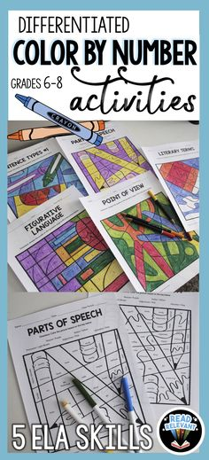 Differentiated ELA Activities: Color by Number by Read Relevant – Read Relevant – art therapy activities 7th Grade Ela, 6th Grade Reading, Middle School Reading, Middle School English, Sixth Grade, Sentence Types, Types Of Sentences, Literary Terms, Writing