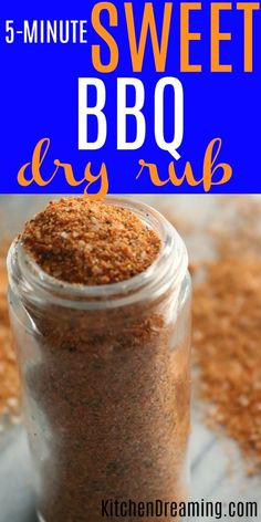 EASY Sweet BBQ Rub Recipe takes just 5 minutes to prepare and uses ingredients already in your spice pantry. Don't buy a pre-packaged mix when you can very easily make your own. Bbq Seasoning, Seasoning Mixes, Chicken Seasoning, Homemade Spices, Homemade Seasonings, Sweet Bbq Rub Recipe, Pork Rib Rub Recipe, Pork Ribs Rub Recipe Brown Sugar, Bacon Rub Recipe