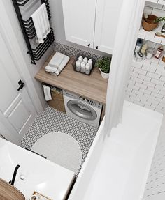 Bathroom Laundry, Small Bathroom Storage, Bathroom Inspo, Bathroom Ideas, Bathroom Interior, Patterned Tile Bathroom Floor, Washroom Design, Laundry Room Design, Compact Laundry