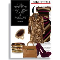 """""""Daring Animal Print and Stripes Combination"""" by maillk, my first Polyvore creation!"""