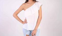 Débardeur asymétrique blanc - Top one shoulder TOPY STL Paris