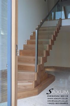 zig zag staircase for caroline with glass and railing but no see through.
