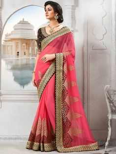 Pink Color Indian Party Wear Sarees Online