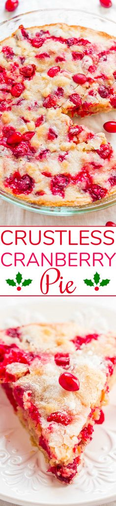 Crustless Cranberry Pie