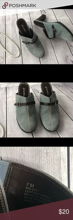 St. John's Bay Clogs Step out in style with these beautiful St. John's Bay light blue and brown clogs. Leather Upper. Size 7M St. John's Bay Shoes Mules & Clogs
