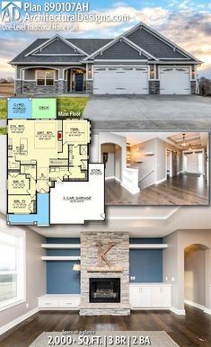 Architectural Designs New American Home Plan gives you 3 bedrooms, 2 baths and sq. Deck Ideenbungalow Plan One-Level Traditional Home Plan with Split Beds