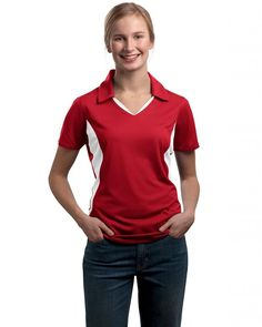 Sport Tek Women's Side Blocked Performance Polo Shirt, True Red/White, X-Large * Startling review available here  : Plus size shirts