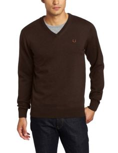 Fred Perry Men's V-Neck Sweater, Liquorice Marl/Midnight « Impulse Clothes