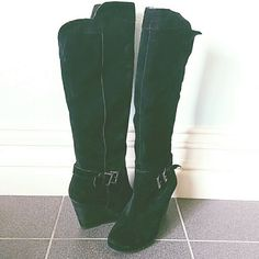 BCBGeneration Suede Leather Boots Gorgeous black suede leather knee high boots with cute little buckle detail on the side. Pair with skinny jeans, leggings or dresses. Worn only a couple times. BCBGeneration Shoes