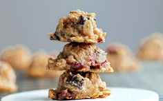 Mini Chocolate-Chip Love Bites  1/2 cup rolled oats  scant 1/2 cup applesauce (can sub mashed banana)  1/4 cup roasted cashew butter (can sub another nut butter)  1/2 tsp pure vanilla extract  1/16 tsp salt  1-2 tbsp mini chocolate chips or chunks   2 1/2 tbsp freeze-dried raspberries (can sub 1 tbsp dried fruit, or more chocolate chips)  1 packet stevia if using applesauce (or 1 tablespoon sugar). Bake @ 350 14-16 minutes on greased cookie sheet.