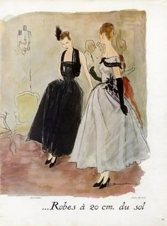 Fashion Illustration 1940 to 1960's Jean DeMarchy and Bernard Blossac Lanvin Harper's Bazaar Vintage Couture