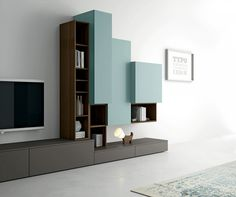 Modern living room TV unit for elegant contemporary interior design - dallagnese contemporary minimalist design TV unit Slim. Wall cabinets with flap fronts are matched - Tv Unit Bedroom, Living Room Tv Unit, Bedroom Tv Unit Design, Tv Cabinet Design, Tv Wall Design, Modern Tv Units, Contemporary Interior Design, Wall Cabinets, Open Cabinets