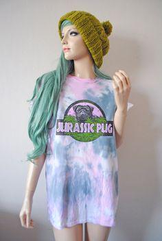 Jurassic Pug Tie Dye TShirt by vfever on Etsy, $24.00