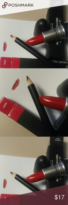 New MAC Red  Lipstick.& Lipliner combo Brand New MAC Lipstick in color LADY DANGER, and Lipliner Pencil in color Auburn.  All reasonable offers are considered and appreciated No trades MAC Cosmetics Makeup Lipstick