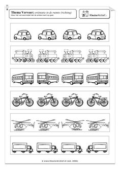 Werkblad: vervoer verkeer ruimtelijk inzicht links en rechts Kindergarten Math Worksheets, School Worksheets, Printable Worksheets, Opposites Worksheet, Lesson Plan Pdf, Transportation Worksheet, People Who Help Us, Dots Game, Learning Tools