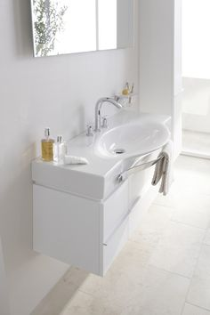 Palace washbasin can be made to size to fit alcoves LAUFEN Bathroom Culture since 1892 Wash Basin, Single Vanity, Timeless Design, Bathroom Sets, Bathroom Vanity, Bathroom, Laufen Bathroom, White Bathroom, Sink