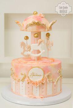 Peach and blush carousel cake